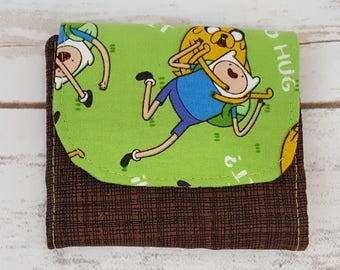 Mini Slimline Wallet - Adventure Time - Brown and Green