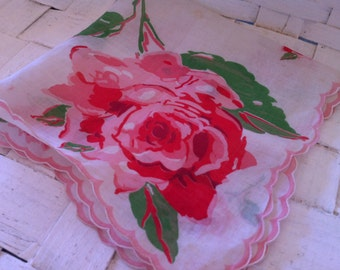 Vintage beautiful roses hankie cabbage rose pink and green