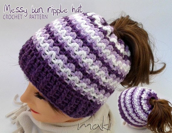 Messy bun hat crochet pattern - Crochet ponytail hat pattern - Ripple ...