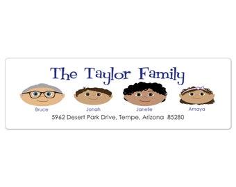 Family Return Address Labels, Custom Return Address Labels, Address Label, Custom Sticker, Personalized Address Label, Cartoon Portrait