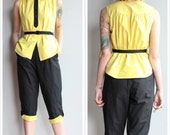 1950s 2pc Pant Set // Yellow Jacket Blouse & Capri Pant // vintage 50s pant set