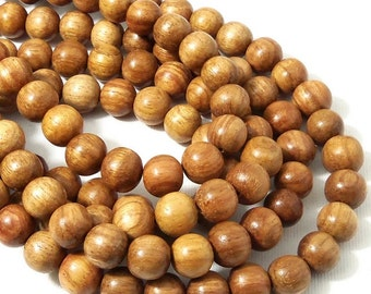 Narra Wood, 10mm, Light, Golden Brown, Round, Smooth, Natural Wood Beads, 16 Inch Strand - ID 1655-LT
