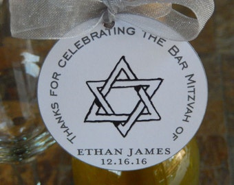 "50 Bar Mitzvah Custom Thank You 2"" Favor Tags - For Mini Wine or Champagne Bottles - Mason Jar Gifts - Cookies - Party Favors"
