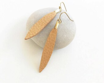 Leather Earrings, Long Spike Earrings, Tan, Minimal Jewelry, Minimalist, Simple Modern, Edgy Earring, Boho Chic, Third 3rd Anniversary Gift