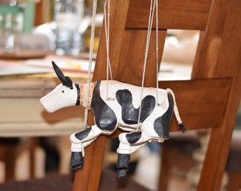 Cow marionette, Cow puppet, toy cow, vintage cow decor, cow decor, wooden cow, wooden marionette