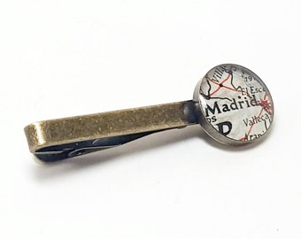 Madrid, Spain 1947 Vintage Map Tie Clip. Ready To Ship. Map Tie Bar. Tie Tack. Gifts for Men. Travel Gifts For Dad. Fathers Day. Grandpa