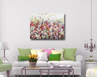Canvas Print, Large Floral Wall Art, Green Red Pink White Abstract Meadow Giclee Print,  Modern Flower Canvas,
