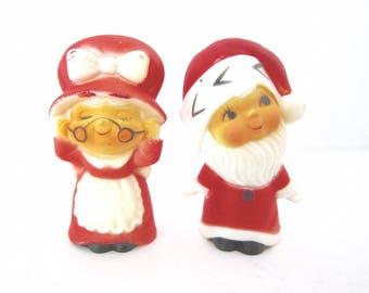 Vintage Hong Kong Plastic Santa Claus and Mrs. Claus Figures 1970s B133 B134