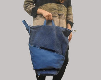Handmade convertible backpack in  blue stonewashed canvas-leather ,named Moira