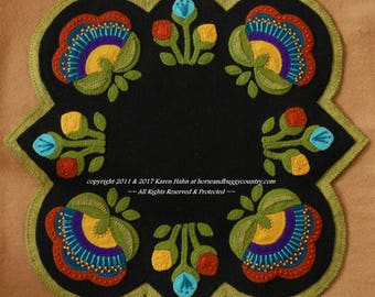 "Wool applique PATTERN &/or KIT ""Jacobean Round Square"" flowers table runner topper penny rug candle mat wool folk art stencil wool felt"