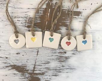 Mini Heart Ceramic gift tag-set of 5