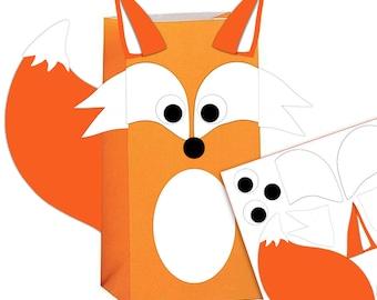 Fox Favor Bag Printable Templateon Birthday Favor Treat Bags