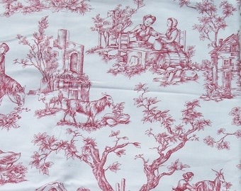 bundle Vintage French Fabric Toile de Jouy Cotton Countryside scenes Rural Vignettes red marsala pink