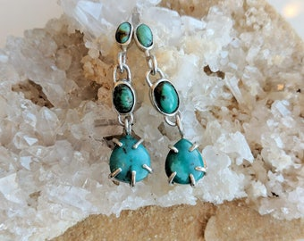 Turquoise and Sterling Silver Earrings - turquoise earrings - dangly turquoise earrings - turquoise and silver - fancy turquoise - boho