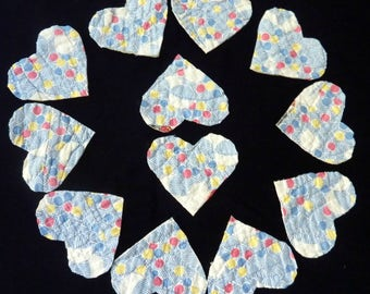 Quilt Heart Appliques From 1950's Vintage Hand-Stitched Quilt Repurposed, Upcycled