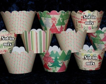 12Christmas Cupcake Wraps Holiday Party Cupcake Decorations Up to 3 Sets Same Shipping Vintage Christmas SAVE 50% CLEARANCE  READY To SHiP