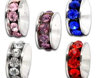10 pcs Assortment Rhinestone Rondelle Spacer Beads - 10x5mm - Hole Size: 4mm