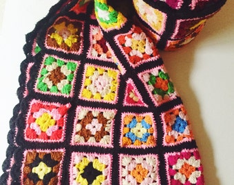 Vintage, Granny Square, Afghan, Black, Pink, Purple, Yellow, Blue, Teal, Lap, Throw Blanket, Shabby Chic