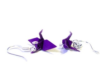 "Winter Sale Origami Paper Crane earrings 3/4""   - Dark Purple Paper Crane Earrings Solid Color"