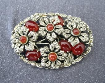 gemstone brooch, carnelian brooch, flower brooch, Victorian brooch, gemstone jewelry, Victorian jewelry, jewelry for repair, Carnelian jewel