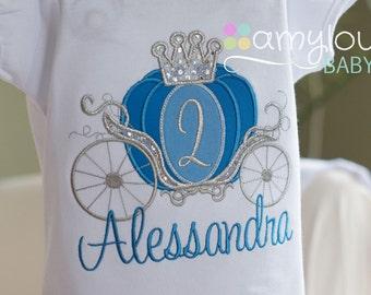 Dark Blue Cinderella Carriage Princess Birthday Toddler Tee Shirt - ANY AGE - Dark blue and silver
