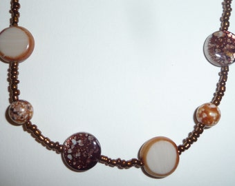 Long Brown Necklace - Long Beaded Necklace - Brown Beaded Necklace - Brown Shell Necklace - Brown Glass Necklace