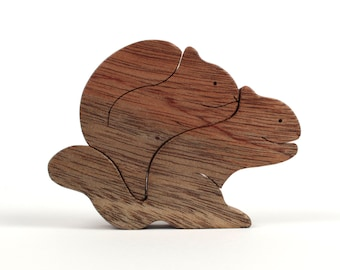 Wood Squirrel Pair, Wooden Animals, Two Piece Squirrel Woodland Decoration, Squirrel Figurines, Khayaa