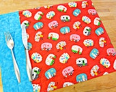 Quilted Placemats, Fabric Placemats, Red Placemats, Retro Placemats, Vintage Camper, RV Decor, Trailer Decor, Camping Accessories