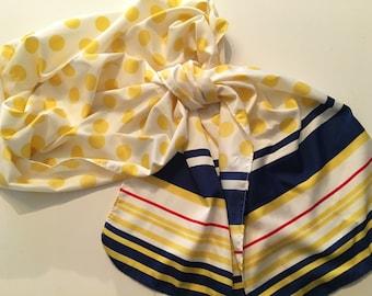 Vintage Scarf Polka Dot Stripes Long Yellow Navy Blue Nautical