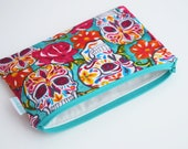 Zero Waste Lunch Bag - Sugar Skull Bag - Day of the Dead - Zipper Bag - Eco friendly Gifts - Teen Girl Gifts -  Available in Three Sizes