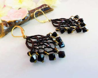 Black chandelier crystal gold cocktail party earrings, Black Swarovksi crystal cocktail chandelier earrings
