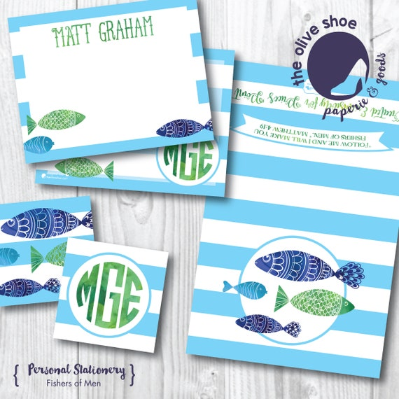 Fishers of Men Stationery | 20% Benefits Price's Point | Thank You Note | Note Card | Enclosure Card | Monogram | Fish | Nautical
