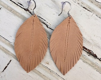 Light Caramel Leather Feather Earrings