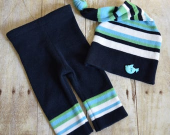 Upcycled Newborn Hat and Pants Set Upcycled Photo Prop Newborn Sleep Cap with Fish Button Baby Boy Prop - Navy Blue Stripe - READY TO SHIP