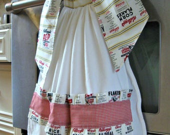 Tie On Dish/Kitchen towel-Kellogg's Cereal Ads-teacher, housewarming, hostess gift-farmhouse kitchen decor