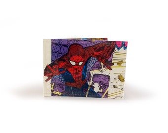 Spiderman Card Holder - Upcycled Vintage Comic in Vinyl - metro, rail, travel, oyster cards