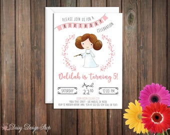 Birthday Party Invitations - Princess Leia and Laurel in Watercolor Style - Star Wars Princess - Set of 20 with Envelopes