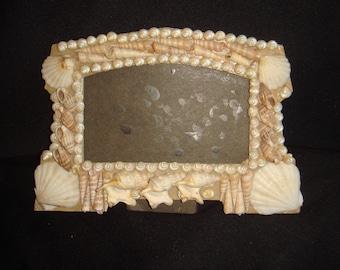 Antique Victorian Shell Picture Frame. Vintage Sea Shell Art Frame. Sea Shell Folk Art Picture Frame. Sailor's Valentine Souvenir
