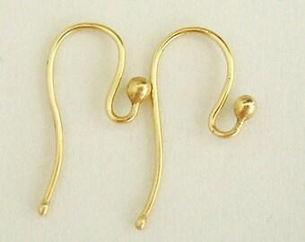 Handmade solid 9k gold french ear wire shepherd hooks for drop /dangling earrings,