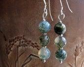 moss agate earrings . ROLLING . stone earrings . green earrings . moss earrings . nature earrings . silver earrings . natural earrings
