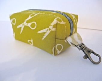 Tiny Zippered Fabric Boxy Keychain Bag Coin Purse Wallet in Green Scissors Print Chevron