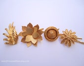 Vintage earrings hair pins - Textured matte shiny gold flower floral fancy leaves unique girl gift fun embellish decorative hair accessories