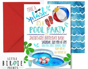 POOL PARTY Invitation Pool party birthday invitation Boy Pool Party birthday party invitation Summer Swim Party