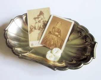 Vintage Silverplate Tray, Small Catch-All, Scalloped Edge