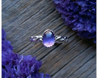 Amethyst Ring Size 7.25 Sterling Silver Purple Gemstone 925 Jewelry February Birthstone
