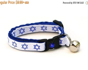 ON SALE Hanukkah Cat Collar - Star of David on White - Small Cat / Kitten Size or Large Size