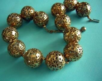 Vintage Big Gold  Brassy Ball Choker Necklace Signed NAPIER Hollow Pierced Construction Ethnic Beauty