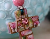 RESERVED for Mary Beth...MOSAIC CROSS Pendant, Mosaic Jewelry