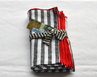 striped napkins  red, black gray and white 100% linen  set of four