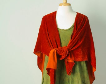 burnt orange hand dyed silk velvet ruana wrap shawl cape